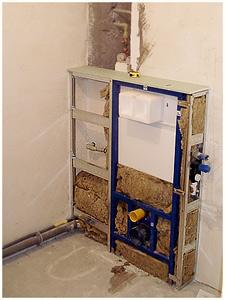 Obudowany rusztem i gotowy do dalszej zabudowy stelaż wc